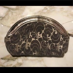 Handbags - Clam shaped Grey Velvet Clutch